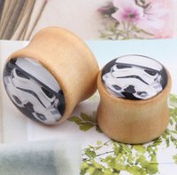 WOOD organic body jewelry plugs - Star Wars Ear Plugs Organic Body Jewelry Wood Ear Tunnel and Plugs Gauge Fit Expander Stormtrooper Logo Piercing Ear Stretcher