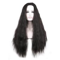 bilder lange haare großhandel-WoodFestival reales Bild Womens lange lockige schwarze Perücke flaumiges Haar hitzebeständige synthetische Perücken für Frauen Größe kann angepasst werden