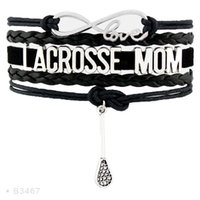 Wholesale Lacrosse Charms - Infinity Love Lacrosse Mom Charm Sports Gifts Bracelets For Women Men Turquoise Black Wrap Bracelet Jewelry