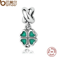 Wholesale Real Leaf Clover Charm - Wholesale-BAMOER REAL 925 Sterling Silver GREEN FOUR-LEAF CLOVER DANGLE CHARM Fit Bracelet Necklace Women Fine Jewelry PAS304