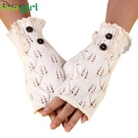 Vente en gros - Dazzler Women Winter Warmer Gants en dentelle en tricot Pretty Stylish Crochet Fingerless Button Mittens Soft Guantes Luvas Gift Oct12