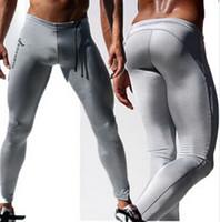 Wholesale Long Black Pant Tights - Wholesale-Fashion Mens Compression Pants Solid Color Long Sexy Tight Pants Low Rise Elastic Spandex Tights Men Black Mens Boys Joggers