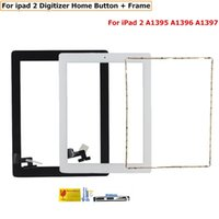 Wholesale Button Frames - Touch Screen Digitizer for ipad 2 iPad2 A1395 A1396 A1397 Touch Panel Sensor Front Glass home button +Frame +tools sets