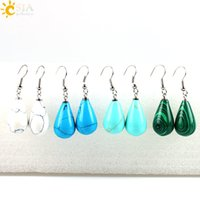 Wholesale Pear Shaped Women - CSJA Copper Vintage Pear Shape Water Drop Hook Dangle Earring Turquoise Malachite Stone Beads Pendant Fashion Africa Jewelry Women Gift E107