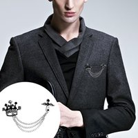 Wholesale British Crown - Trendy British Angel Wings Cross Crown Badge Brooches Pins Unisex Multiple Layers Tassel Chain Brooch Pin For Men Women Broches