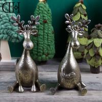 Wholesale Dream Sat - Genuine Dream House DH BS113126 Xmas gift resin reindeer figurine christmas decoration vintage art craft sitting deer ornament
