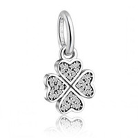 Wholesale Pave Heart Pendants - Lucky Clover Flower Pendant Charms Bead 925 Sterling Silver Micro CZ Pave Heart Dangle Beads Fit Diy Brand Bracelets Jewelry Accessories