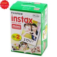 Wholesale camera films - New 20pcs box fujifilm instax mini 8 film 20 sheets for camera Instant mini 7s 25 50s 90 Photo Paper White Edge 3 inch wide film