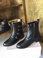 Wholesale Box Calf Shoes - Fashion Luxury Women JC Mid-Calf Boots Half Winter Buckle Rivets Cow Leather Combat Shoes Zip Original Box Black Size 35-39