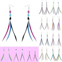 Slim Feather Boucles d'oreilles 12 Couleurs lots en gros Kinds Sheer Bead Multi-Color Light Dangle Eardrop (White Teal Red Black Grey Red Blue) (JF145)