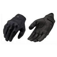 guantes para moto al por mayor-Moto Racing Gloves Guantes de ciclismo de cuero Guantes de moto de cuero perforado color negro M L XL