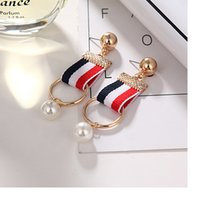Wholesale Studs For Cloths - New Arrival Fashion Jewelry Gold Plated Color Cloth Earring Stud for Lady Girls Double Circle Dangle Ear Ring