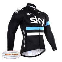 Wholesale Sky Thermal - New team Sky cycling jersey Winter thermal fleece mens cycling clothing bike long sleeve shirt mtb bicycle maillot ropa ciclismo A1001