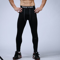 Wholesale Skinny Tights - Free Shipping mens compression pants sports running tights basketball gym pants bodybuilding joggers jogging skinny leggings trousers
