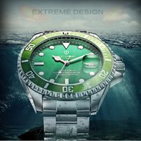 Wholesale Business Classic Wristwatches - Men classic wrist Watch Luxury Brand name male Automatic Mechanical Watches Green Dial Calendar man full steel business wristwatch gift box