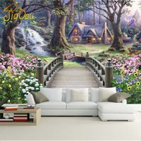 Wholesale fantasy backdrops - Wholesale-Fantasy Wonderland 3D Stereoscopic European TV Backdrop Wallpaper Bedroom Living Room Custom Large Landscape Mural Wallpaper