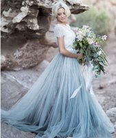 Wholesale Two Tone Purple Prom Dresses - Light Blue prom Gown White Lace Sheer Detachable Jacket Crop Top Short Sleeves Tulle A-line Two Toned Bridal Dress Colored Bride Gowns
