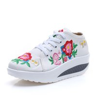 Baumwolle Blumenstickerei Damenmode Canvas Flat Plattformen Lace up Damen Casual Comfort Walking Schuhe Zapatos Mujer Single Ballett Schuhe