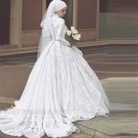 Wholesale Wedding Dress Tulle Muslim - Vintage White Lace Muslim Hijab Wedding Dresses Tulle High Neck Ball Gown Wedding Dress Long Sleeve Bridal Gowns