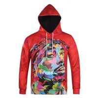 Wholesale Mens Gangster - Wholesale- 2017 mens hoodie 3D hip hop star 2Pac Tupac American gangster rap sweatshirts hoodies Tupac Shakur hooded pullover tops