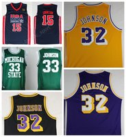 Wholesale Men Magic Johnson Jersey Throwback Basketball Michigan State Spartans Johnson College Jersey USA Dream Team Hardwood Classics