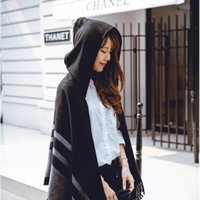 Wholesale Women s Wool Hooded Poncho with Hat Winter Scarves Black Beige Colors Z