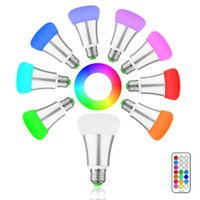 Wholesale Stage Light Rohs - Brightness 10W RGB E27 LED Bulb Light Stage Lamp 12 Colors with Remote Control Led Lights for Home AC 85-265V RGB + Cool White