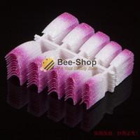 Wholesale White French Tip Glitter - Wholesale- 100 PCS Beauty Acrylic Nail Tips White Mix Pink Glitter French Nail Tips Acrylic False Nails Art Foils NEW