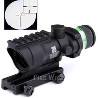 Wholesale Trijicon Acog Tactical Scope - 2017 Black & Beige color Tactical Trijicon acog style 4x32 rifle scope red green dot Red with 20mm rail Optical fiber fits for 20mm Rail