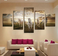 Wholesale Cheap Large Canvas Oil Painting - Unframed 5 Pcs High Quality Cheap Art Pictures Running Horse Large HD Modern Home Wall Decor Abstract Canvas Print Oil Painting