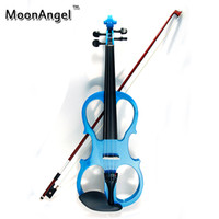 blue electric violin - Electric Violin Fiddle Stringed Instrument Ebony Fittings Cable Headphone Case for Music Lovers Beginners Blue Violin