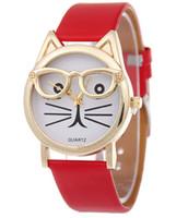 heart watch face оптовых-2017 пояс кошка студенты смотреть мультфильм носить очки маленький чистый и свежий и легкий кожа лицо кошка леди сердце цифровые кварцевые часы