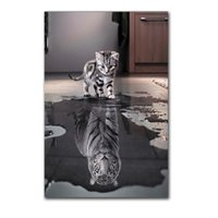 Wholesale Spray Paint Images - Unframed 1Panel Small Cat or Big Tiger Mirror Image Wall Art Oil Painting On Canvas HD Print Art Picture for Home Decoration.(Wholesale)