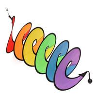 spinners de cauda venda por atacado-Atacado-Rainbow Wind Spinner Espiral Curly Cauda Windmill Tent Decoração de Jardim Item Colorido Dobrável Gadgets Camping Decor