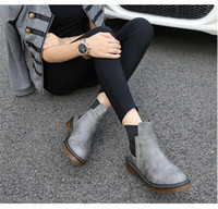 Wholesale Girls Black Lace Up Boots - 2017 Fashion boots for women British style with martin boots Newest Autumn and Winter Casual female boots Xmas gift for girls