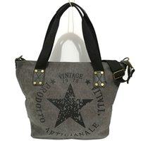 Wholesale Drop Shipping Cell Phones - 2017 high quality women canvas shoulder bags star printed casual handbags vintage women shopping bags large women tote drop shipping