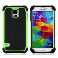 Wholesale S3 Hard Case Dual Layer - Dual Layer Hard Case For Samsung Galaxy S5 i9600   S4 i9500   S3 i9300   S2 i9100 Heavy Duty Hybrid Protective Case Cover 11Colors