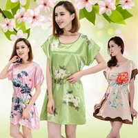 Wholesale Womens Wholesale Silk Shorts - New Arrival Faux Silk Sleepwears For Womens Ladies Girls Fashion Soft Butterfly Flower Nightgowns Dresses Robe Nightwear Gift
