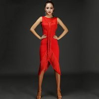 Wholesale Latin Dance Dress Women Salsa - 2017 Sexy Lady Latin Dance Dress Women 4colors Lady Dance printing tassel Flamengo Salsa Samba Ballroom Training Competition DQ2118