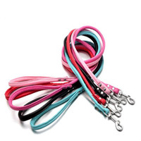Wholesale Cheap Pet Leads - Cheap PU Pet Plain Round Leash Small Large Dog PU Lead Rope Fashion Dog Training Leash Pink Black Blue White Red Color Mix Order 20PCS LOT