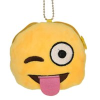 Wholesale Smiley Face Purses - Wholesale- New Fashion Men Women Girls Novelty Portable Emoticon Design Round Purse Emoji Smiley Face Hanged Chain Coin Wallet