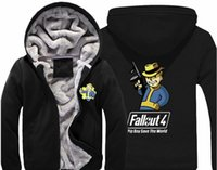 Wholesale Thick Hoodies For Boys - Game Fallout 4 Hoodie Pin Boy Save The World Print Zipper cardigan Sweatshirt Super Warm Thicken Fleece Coat For Men and Women