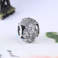 Wholesale Oriental Jewelry - Wholesale Real 925 Sterling Silver Not Plated ORIENTAL FAN OPENWORK CZ European Charms Beads Fit Pandora Snake Chain Bracelet DIY Jewelry