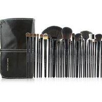 Wholesale cosmetic brushes case for sale - Group buy New Arrival Black Cosmetic Brush Kit Tool Professional Makeup Brushes Set With PU Leather Case