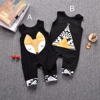 Wholesale 75 b - Baby INS fox tent Rompers Boys girls cartoon ins Cotton geometric pattern print Sleeveless romper baby clothes 0-3year B