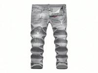 Wholesale Mens Brown Slim Jeans - D-2017 Desinger Skinny Button Fly Jeans European Top MEN Micro-elastic Denim Desinger D1858-59-74 Slim Fit Shabby Holes Badge MENS Jeans