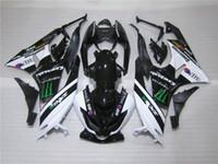 Wholesale Free Compression - Free customize plastic Fairing kit for Kawasaki Ninja ZX6R 2009 2010 white black fairings set ZX6R 09 10 OY09