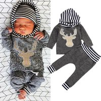 Wholesale Hooded T Shirt Pants - Fashion Kid Clothes Newborn Baby Boy Girl Clothes Deer Hooded Tops T-shirt+Pants Leggings 2pcs Outfits Set 3M-3T