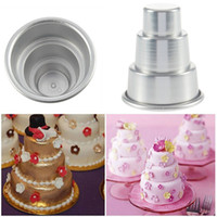 Wholesale Wholesale Pizza Trays - Mini 3 Tier Cake Pan Tins Cupcake Pudding Pizza Mould Cake Trays Party Home birthday DIY pudding Tools 30*60*80MM