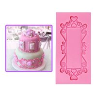 Wholesale Mould Wilton Cake - 3D Frame Mirror Silicone Cake Mold Sugarcraft Fondant Cake Decorating Tools Chocolate Mould Stencil Wilton Cook Bakeware SM-365